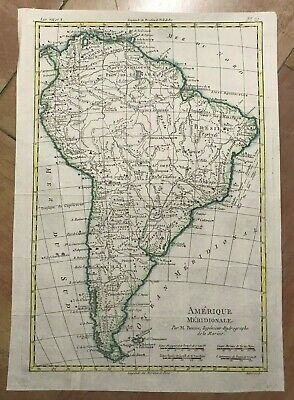 SOUTH AMERICA 1780 by RIGOBERT BONNE ANTIQUE MAP IN COLORS 18TH CENTURY