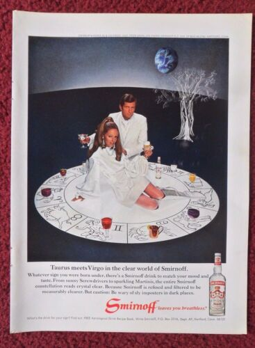 1969 Print Ad Smirnoff Vodka ~ Zodiac Signs Horoscope When Taurus  Meets Virgo