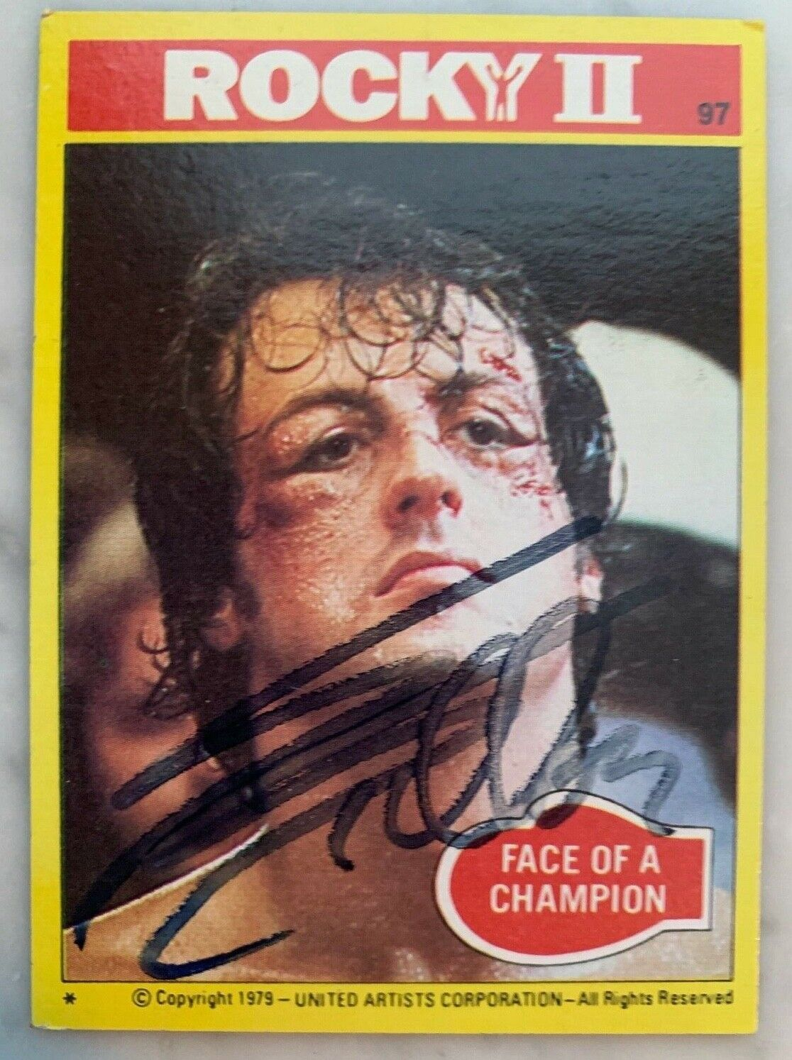 """Sylvester stallone signed 1978 rocky ii movie trading card  """"face of a champion"""""""