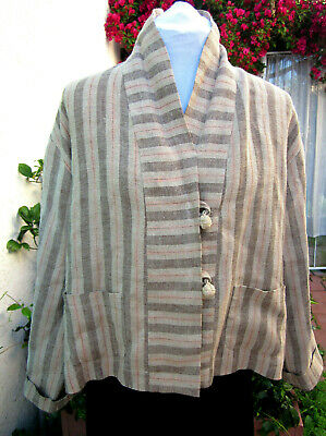 Romeo Gigli G Italy VTG linen jacket L Rare! McQueen era Boxy Oversize fit