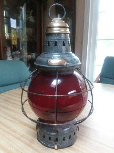 ANTIQUE SHIP BOAT NAUTICAL LANTERN RED GLOBE RUSSELL&STOLL BRASS TRIM LAMP PERKO