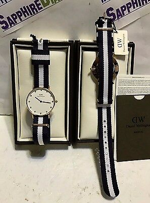 Daniel Wellington Men's 40mm Glasgow Nylon RoseGold Watch DW00100004 NEW!