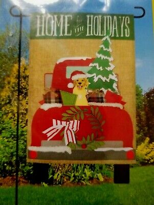 """GARDEN FLAG ~~ """"HOME FOR THE HOLIDAYS"""" ~ 12.5"""" x 18"""" ~~ NEW in PACKAGE"""