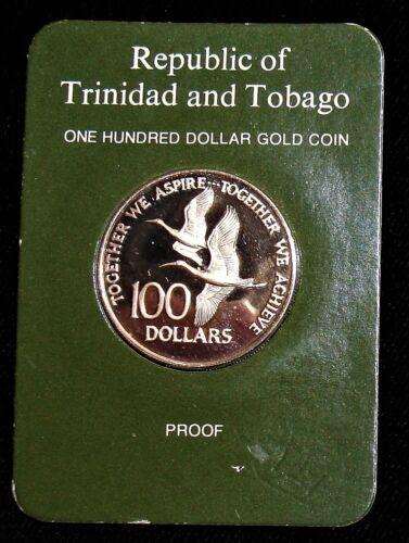 Trinidad & Tobago 1976-FM Gold Proof $100 KM-37. Original Mint Holder.