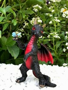 Miniature Dollhouse FAIRY GARDEN Figurine ~ Mini Black Dragon with Dragonfly NEW