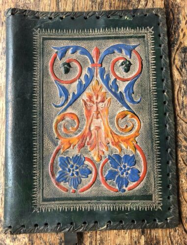 Vintage Hand Tooled Leather Book Cover Embossed Made In italy