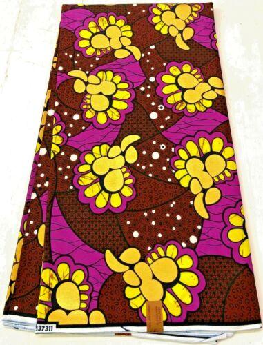 Metallic Gold Purple African Ankara Wax Print, 100% Cotton, Sell by 6 Yards