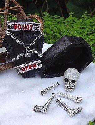 Miniatur Puppenhaus Märchengarten Haunted Hohl Halloween Skelett Knochen Sarg ()