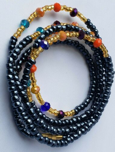 """African Clasp Waist Beads Belly Chain Black+Crystal CLASP Weight Loss 31""""-52"""""""