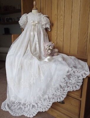 LACE CHRISTENING GOWN & BONNET -  HEIRLOOM BAPTISM DRESS - ROBE - IVORY & WHITE  - Heirloom Baptism Gowns