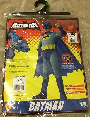 Batman The Brave And The Bold 4 Pc Halloween Costume Kids Size M 8-10 Brand (The Brave And The Bold Batman Costume)