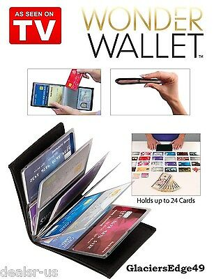WONDER WALLET- AMAZING SLIM RFID WALLETS AS SEEN ON TV BLACK 100% LEATHER NIB