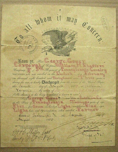 CIVIL WAR CALLIGRAPHY  PENNSYLVANIA SOLDIER DISCHARGE VIRGINIA