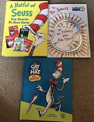 LOT OF 3 DR. SEUSS BOOKS - 7 STORIES - HC CAT IN THE HAT, THINKS YOU CAN THINK