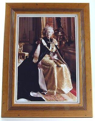 Framed modern portrait print of Queen Elizabeth II British Monarch, wooden frame