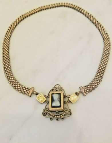 Antique Victorian Gold filled Mesh Chain Ornate Cameo necklace