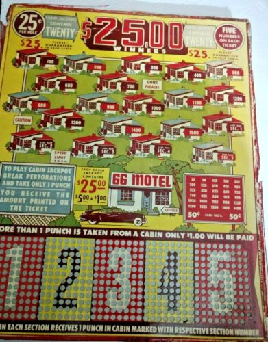 Punchboard  Motel 66   Punchboard Vintage and Rare UNPUNCHED