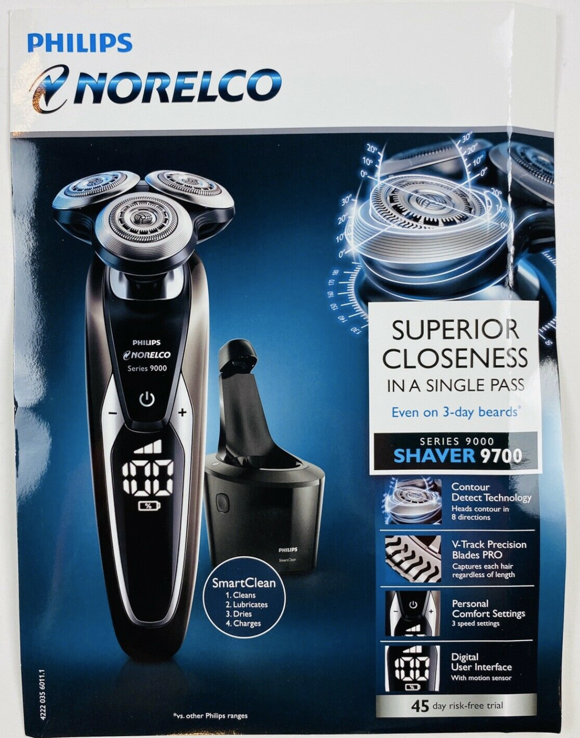 Philips Norelco 9700 S9721/89 rechargeable wet/dry Shaver +