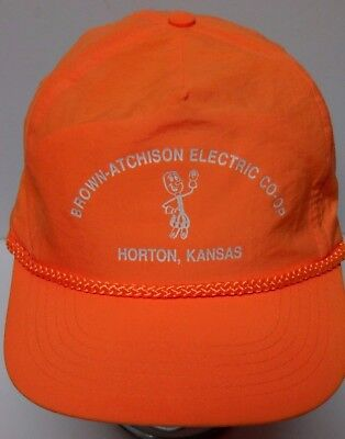 Vtg 1990s BROWN-ATCHISON ELECTRIC CO-OP HORTON KS Willie Wirehand Snapback Hat