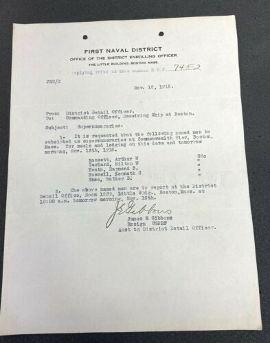 Original 1918 US Navy Letter Of Assignment
