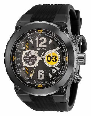 Invicta Men's Aviator Stainless Steel Quartz Watch with Silicone Strap, Black,..