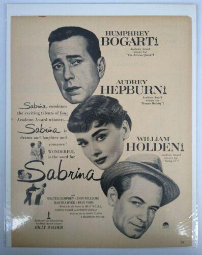 Sabrina Humphrey Bogart Audrey Hepburn Photo 1950s Vtg Movie Promo Print Ad