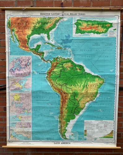 Denoyer-Geppert Visual Relief Series, Vintage School Wall Map of Latin America