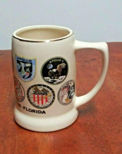 VTG NASA Stein Mug Cup Kennedy Space Center Florida APOLLO 11 XI Patches moon