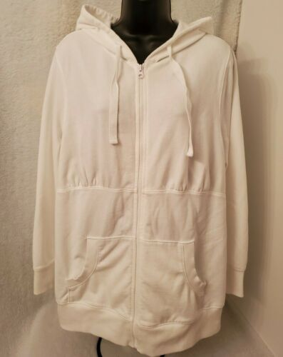 Old Navy Maternity Womens White Zipper Hoodie Sweat Jacket Coat Size XL