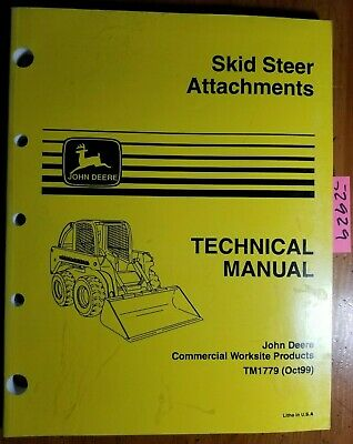 John Deere Skid Steer Attachments Technical Manual Tm1779 1099