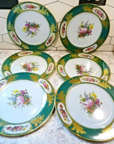 SIX Chatsworth Elite Gift Boxes Tin Plates England Feuillet Sevres Green Border
