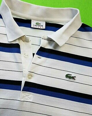 LACOSTE SPORT MENS POLO SHIRT TOP 2XL SIZE 7 WHITE BLUE BLACK STRIPED