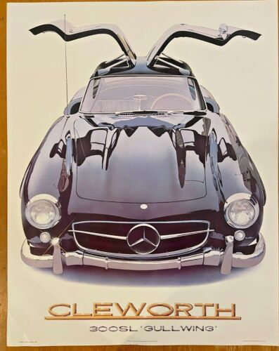 """Vintage 300SL Gullwing Mercedes Benz Poster Art by Harold J Cleworth 28"""" x 22"""""""