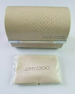JIMMY CHOO BEIGE LIZARD PATTERN FOLDING SUNGLASS CASE WITH CLEANING CLOTH (Lizard With Sunglasses)