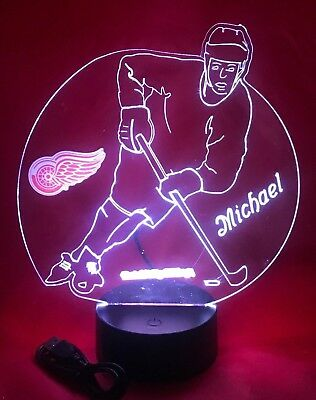 Detroit Red Wings NHL Hockey Player Light Up Lamp LED, Remote, Personalized Free