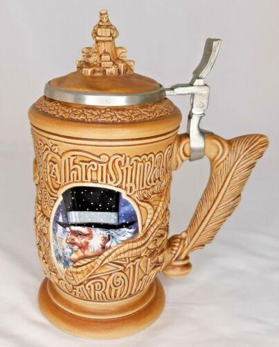 """""""A Christmas Carol"""" Vintage Lidded Beer Stein 1996 Avon Scrooge Tiny Tim Ghosts"""