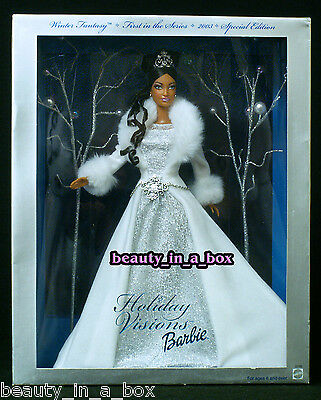 """Holiday Visions Winter Fantasy Barbie Doll 2003 AA African American NRFB """""""