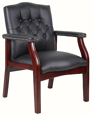Boss Office B959-bk Traditional Black Caressoft Guest Chair W- Mahogany Finish