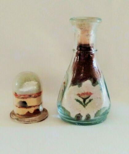 Vintage 1938 SOUTHWESTERN SAND ART BOTTLES Miniature ~ Domed Carafe ~ Signed L