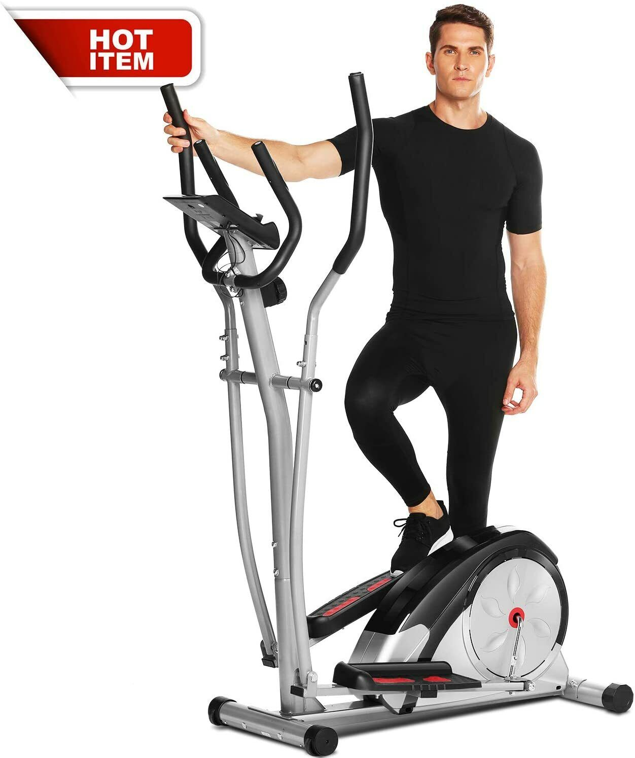 ANCHEER Magnetic Control Mute Elliptical Trainer w/ LCD Moni