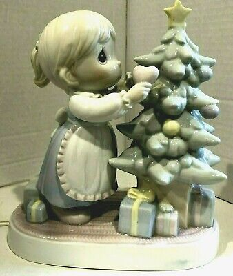 Precious Moments Ceramic Table Lamp Girl And Christmas Tree 1993 Electric