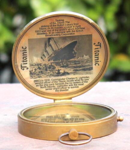Antique Lid Titanic Compass Brass Nautical Vintage Navigation Pocket Maritime