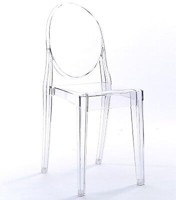 NICHES Ghost Starck Transparent Dining Chair Modern Plastic Acrylic Vanity Chair