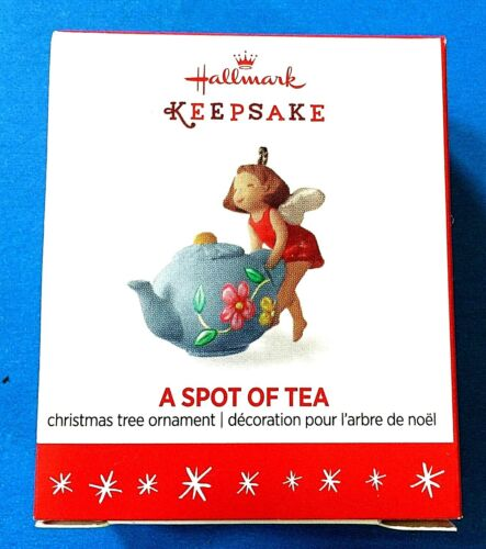 "Hallmark ""A Spot of Tea"" Fairy Teapot Miniature Ornament 2016"