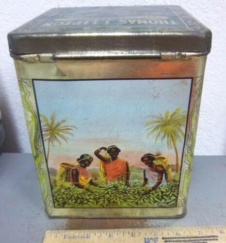 vintage Large 5 pound Thomas J Lipton Tea tin, amazing graphics on 4 sides, NICE