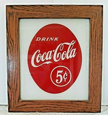 """Vintage """"Drink Coca-Cola"""" Sign Painted On Glass with Wooden Frame 17"""" x 15"""""""