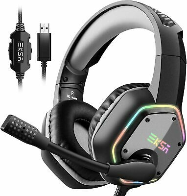 Gaming Headset 7.1 Surround Sound Stereo USB Headphone Noise Canceling RGB Light