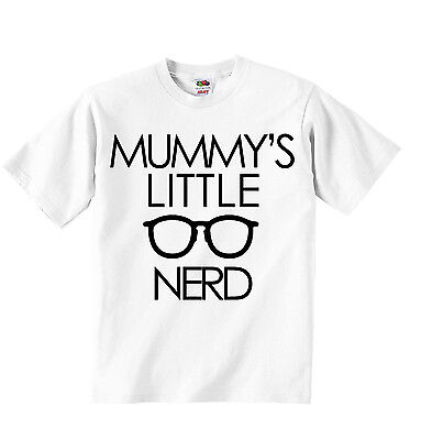 Mummys Little Nerd Personalized Unisex T-shirt Tees Clothing Boys Girls White