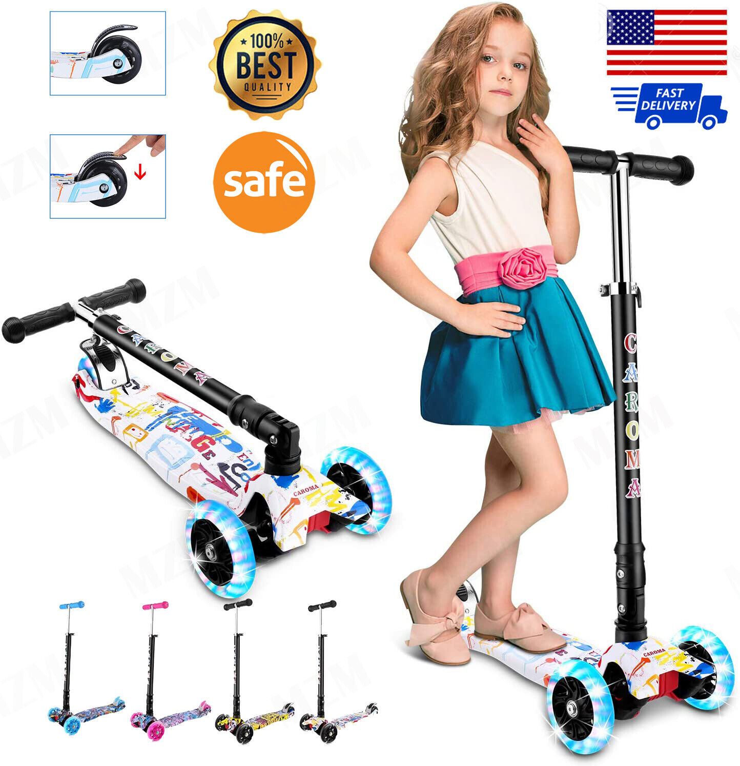 Lightweight Kick Scooter 2 Wheel Fordable Kid/Adult Ride Adj