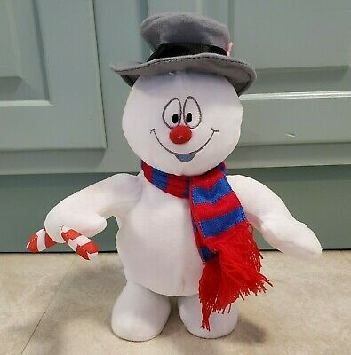 """Gemmy Frosty The Snowman Animated Plush Sings Moves Feet Holding Candy Cane 12"""""""